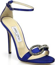 Jimmy Choo Tamsyn Crystal Buckle Satin Sandals