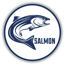 "Salmon Fishing Emblem Car Bumper Sticker Decal 5"" x 5"""