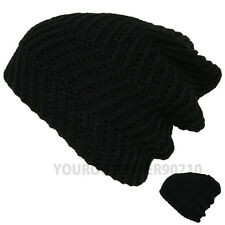 Mens Womens Knit Baggy Beanie Crochet Hat Winter Slouchy Thick Heavy Reversible