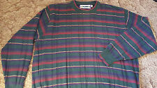 Men's Pullover Crew Neck Sweater Bulky Stripes Size Large USA Shenandoah Man