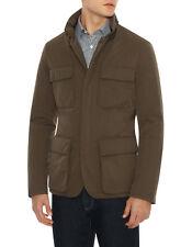 CANALI Olive Green Micro Rain Jacket LS Pocket NWT US 48 L XL Fold Away Hood
