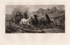 "Awesome ADOLF SCHREYER 1800s Etching ""Wallachia Postman's Wagon"" Framed FREE COA"