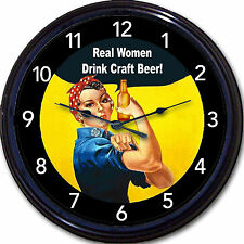 """Rosie the Riveter """"Real Women Drink Craft Beer"""" Poster Clock WWII Home Brew 10"""""""