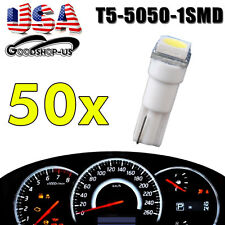50PCS T5 Wedge 5050 1SMD White Car Dashboard LED Light Bulbs 74 17 18 37 70 2721