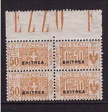Italienisch Eritrea, Mi-Nr. PM 4 Viererblock, Paketmarke, postfrisch (21418)