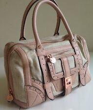New Gen.Sam Edelman Natural Canvas,Pink Leather & Rose Gold Brigitte Satchel Bag