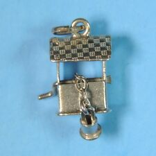 Vintage Sterling Silver 925 Wishing Well Lucky Bucket Moving 3D Charm