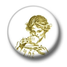 Drinking Tea 1 Inch / 25mm Pin Button Badge Vintage Woman Chic Lady Cup Cute Fun