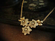 Vintage Crystal & Montana Blue Flower Necklace 22ct Gold Plated Chain