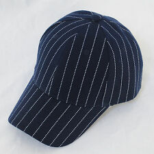 Atlantis Curve Peak Basic Tommy Pinstripe Navy & White Baseball Hat Cap