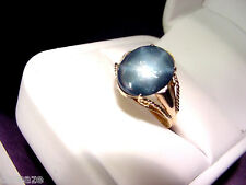 ROYAL BLUE STAR SAPPHIRE 4.63 CTS VINTAGE 14K GOLD RING