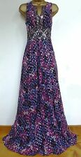MONSOON ✩ STUNNING LILY PINK / PURPLE  SILK MAXI EVENING LONG DRESS ✩ UK 12 BNWT