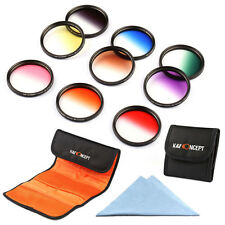 9pcs 72mm Verlaufsfilter Farbfilter Skyfilter Graufilter Graduated ND Color Set