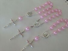 40Pc Mini Rosary  Pink Pearls Baptism Favors/ Vintage Silver /recuerdos Bautizo