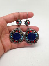 Vintage Afghan Turkmen Tribal Kuchi Round shape Lapis lazuli Earrings Handmade.