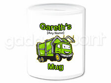 Personalised Gift Garbage Truck Money Box Binman Refuse Bin Collection Present