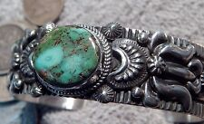 Solid Sterling Silver Bracelet Cuff Royston Turquoise by Darryl Becenti Navajo