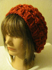 ACRYLIC HANDMADE  WINE  KNITTED SLOUCHY BEANIE IN POP CORN PATTERN ONE SIZE.