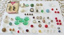 Antique Vintage Estate Buttons-Victorian Faceted Colored Glass Rhinestones