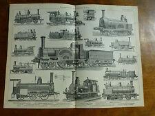 1874 grabado-Locomotoras de diversos tipos tanque loco Liliput LOCO N. America