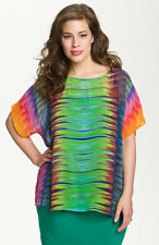 NEW 2pc VINCE CAMUTO Sheer Mirror Buenos Aires Tie Dye Rainbow Blouse PLUS 3X