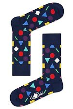 Happy Socks Play Blue & Colour Shapes Size 7 - 11 UK Mens Unisex Fun Sock Gift