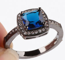 HOT Size7 sapphire Square CZ Fashion Black 18K Gold Filled Rings 2.89ct BB40