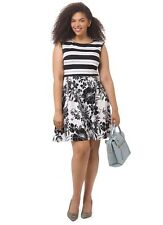 ADRIANNA PAPELL WHITE BLACK STRIPE FLORAL MIXED PRINT FIT AND FLARE DRESS 22W