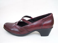 Womens Clarks Marna Shoes Size 7.5M Leather Round Toe Merlot