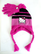HELLO KITTY Pink Black Striped Laplander Hat Gloves Set NWT Child OSFM SANRIO