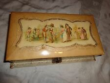 ANTIQUE VICTORIAN FRENCH COURTING COUPLE PASTEL ROSES DRESSER CELLULOID BOX