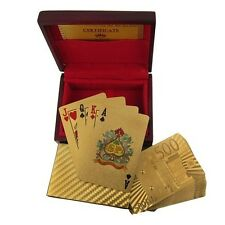 €500 EURO European 24K Gold Plated Poker Playing Card with Wood Box Certificate