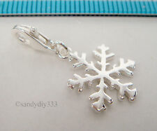 1x BRIGHT STERLING SILVER SNOWFLAKE PENDANT EUROPEAN CLIP ON CHARM #2204