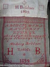 21673 2x Stickmustertuch Sampler ABC Tuch vintage 1899 Hedwig Brödner Zöblitz
