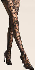 Elegant Unique Floral Pattern Fishnet Jacquard Black Tights Pantyhose One Size M