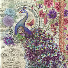 4 Paper Napkins Decoupage Bella Peacock Floral Luncheon Craft Punch