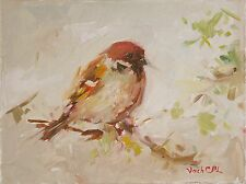 "Oil painting, Impressionist Farm Animal art ""Sparrow"" small painting, russian"