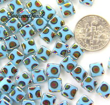 Flat Square Beads 6x6mm Light Blue w/Peacock Finish~Preciosa Czech Beads 20 Pcs