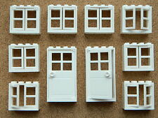 LEGO windows and doors for house (pack of 10) 2x4x3 WHITE BRAND NEW