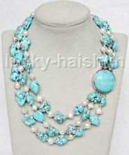 """17"""" 3row Natural baroque white pearls blue turquoise necklace j11264"""