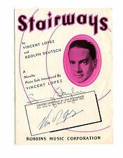 Vintage Souvenir Card STAIRWAYS Vincent Lopez autograph Hotel Taft NYC 1926
