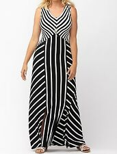 LANE BRYANT WOMEN'S BLACK WHITE SLEEVELESS SPLICED STRIPE MAXI DRESS Sz 26/28
