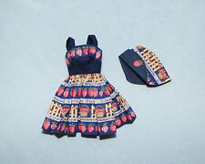 COUNTRY CHARM Strawberry Print Royal Blue & Tan BARBIE Dress & Bonnet