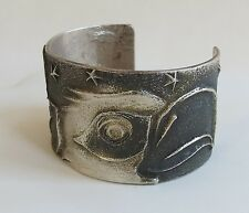 Bald Eagle Stars Feathers Bold Marcus Chavez Sterling Navajo Cast cuff bracelet