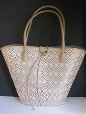 Neiman Marcus linen nude tan embroidered tribal extra large Bag Purse shopper