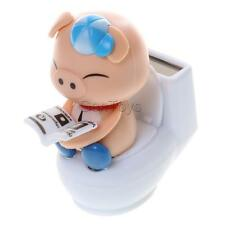 Home Office Car Decorative Solar Powered Flip-flap Bobble Head Pig On Toilet