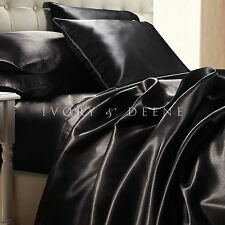 Satin Sheets Queen Size Midnight Black Silk Feel Beautiful Luxury Bedding Set