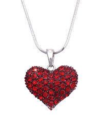 Valentine's Day Gift Small Red Heart Pendant Necklace Girl Fashion Jewelry n48r