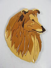Unique border Collie Dog Intarsia Wooden Wood Inlay Wall Art