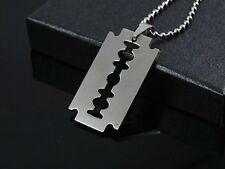 UNISEX stainless steel Silver RAZOR BLADE  on 51 cm ball chain HIPSTER PUNK EMO